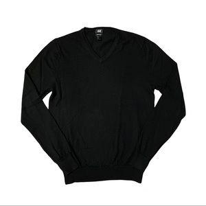 H&M Men's Black Merino Wool V-Neck Lightweight Long Sleeve Sweater Size M